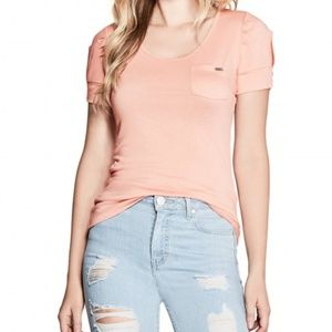 Guess Adria Cold Shoulder Just Peachy Top